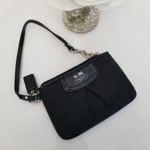 Coach Madison Op Art Small Black Fabric Wristlet